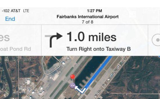 Apple Maps vliegveld fail