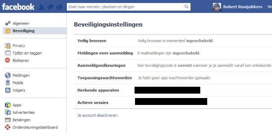 Facebook beveiliging