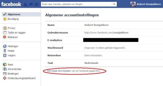 Facebook-gegevens downloaden