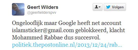 Geert Wilders klaagt over Gmail