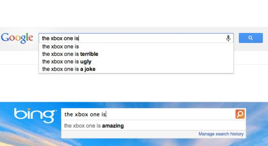 Google vs Bing over Xbox One