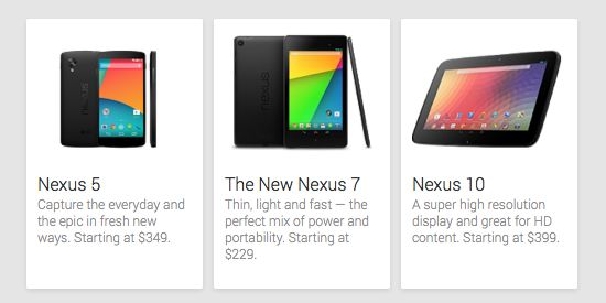 LG Nexus 5 in Play Store