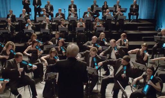 Orkest met mobieltjes en tablets