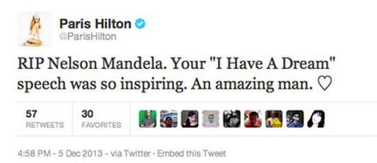 Paris Hilton tweet over Mandela