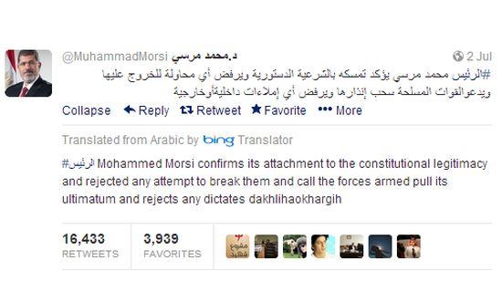 Twitter vertaalt Morsi