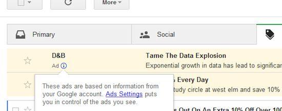 Gmail vermomd advertenties als email