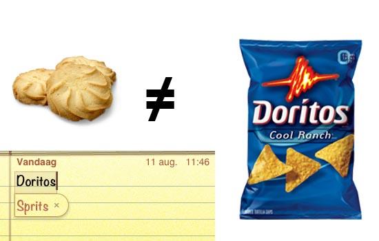 De een is een koekje, de ander chips. Hoe moeilijk is dit?