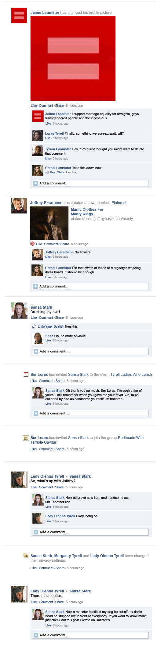 Game of Thrones op Facebook
