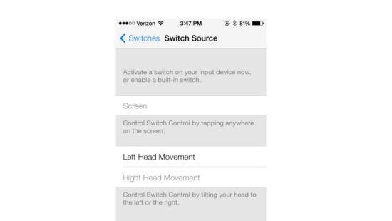 iOS 7 bedienen met hoofdbewegingen