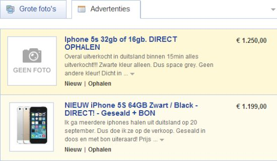 iPhone 5s Marktplaats prijzen