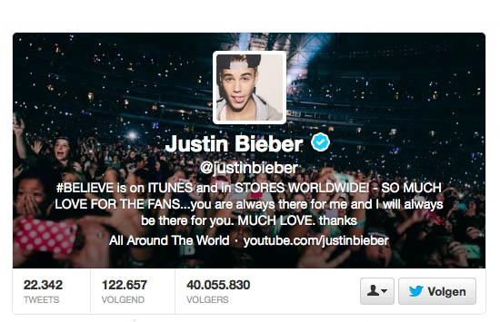 Justin Bieber op Twitter