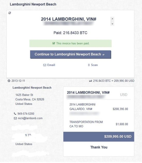 Lamborghini Gallardo LP560-4 gekocht met Bitcoins
