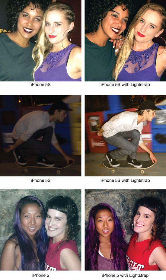 Voorbeeldfoto's: met en zonder de Lightstrap
