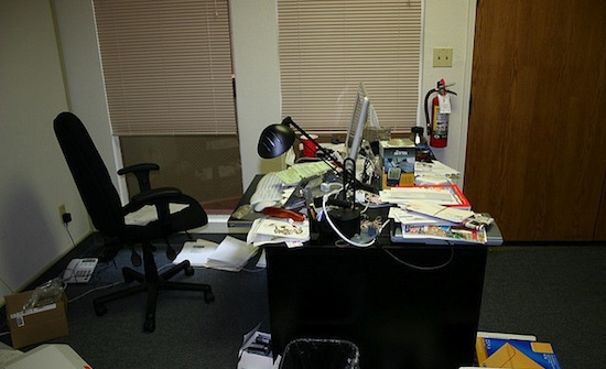 'Lee Hower's desk at 1804 Shoreline. The company moved into this office in March 2003 after three months at 575 High Street in Palo Alto '