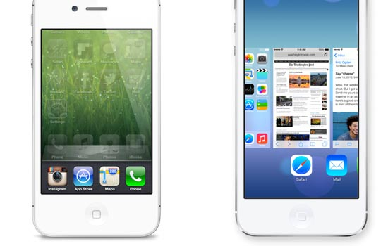iOS 6 vs iOS 7 multitasken