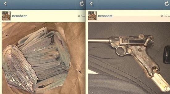 Rapper zet pistoolfoto