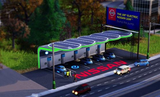 SimCity laat Nissan Leaf-oplaadstation toe