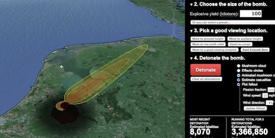 Kijk in 3D hoe atoombommen ontploffen op Google Earth