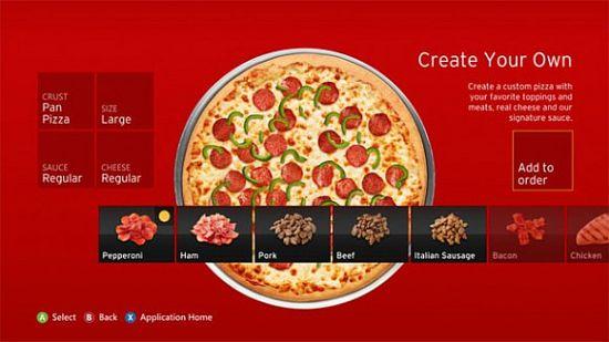 Pizza hut menu op de Xbox