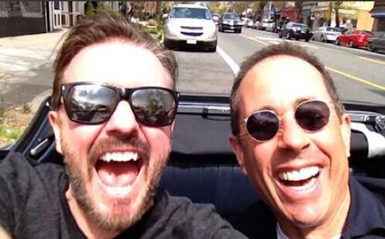 Een selfie door selfiekoning Ricky Gervais