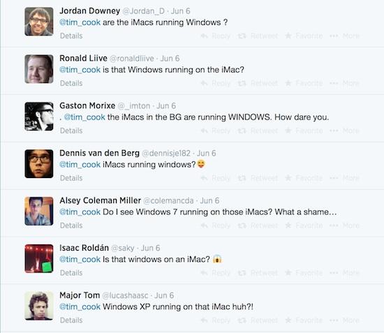 iMacs running Windows tweets