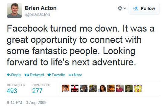 Brian Acton afgewezen bij Facebook