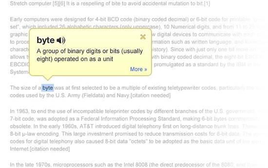 Google Dictionary-extensie