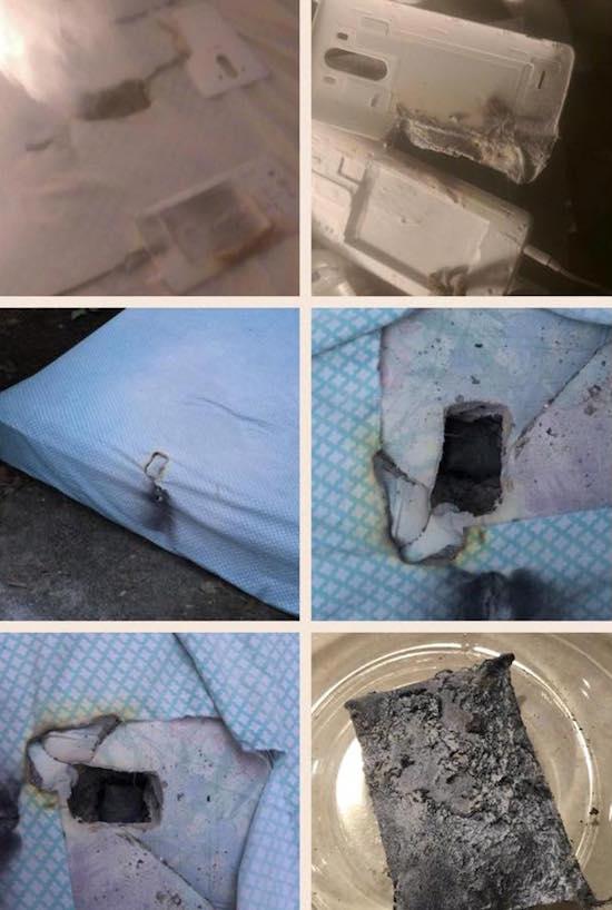 LG G3 ontploft en brandt gat in matras