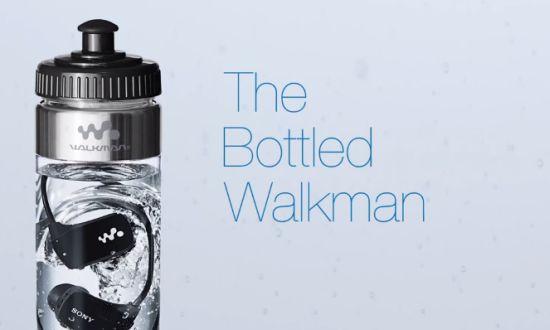Sony Walkman in fles water