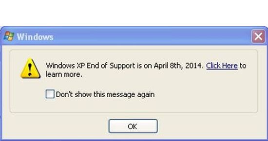 Windows XP End of Support pop-up