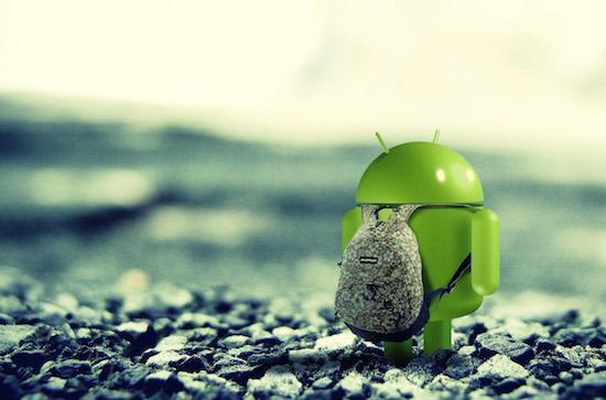 Android met rugzakje, omdat d
