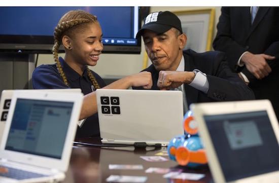 Obama is de eerste president die kan programmeren