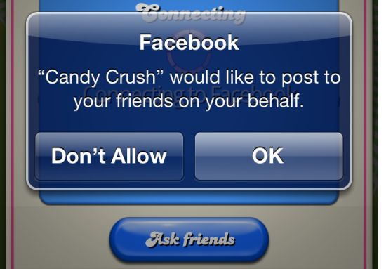 Candy Crush post on Facebook