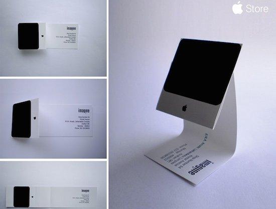 Slim visitekaartje van een Mac-reparatuer, in de vorm van een Mac