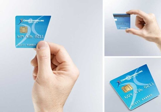 Het visitekaartje van een bedrijf dat in creditcardschuldbemiddeling doet