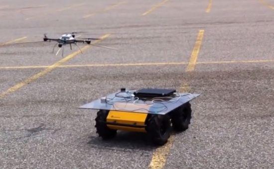 Zie hoe een drone op een bewegend platform land