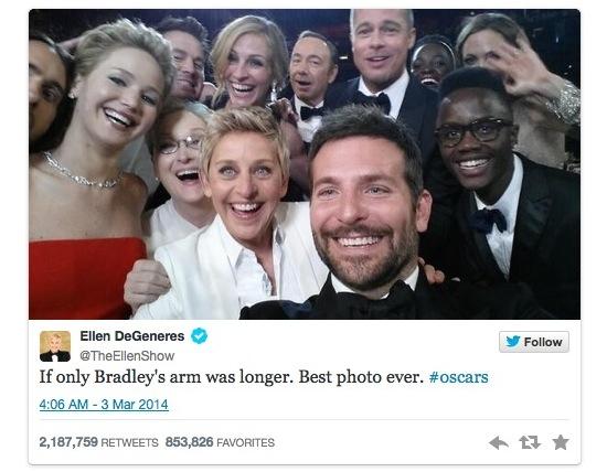 Ellen DeGeneres scoort retweetrecord met Oscar-selfie