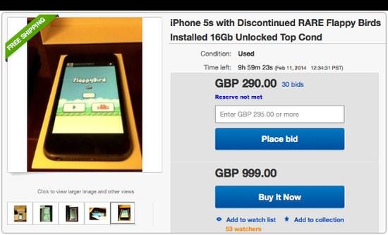 Flappy Bird-iPhones mogen niet verkocht worden van eBay