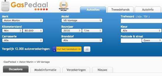 De zoekmachine van Gaspedaal.nl