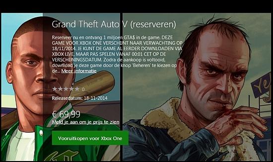 GTA V pre-order Xbox One