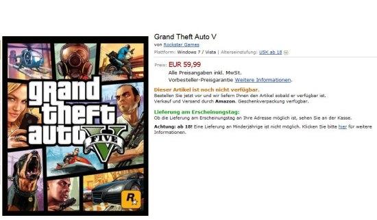 Amazon biedt GTA 5 PC-game aan