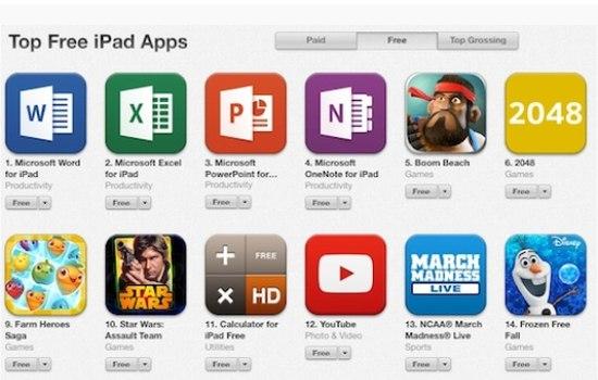Microsoft topt de downloadlijst van gratis iPad-apps