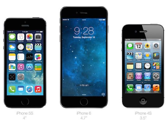 Vergelijking met de iPhone 5s en 4s