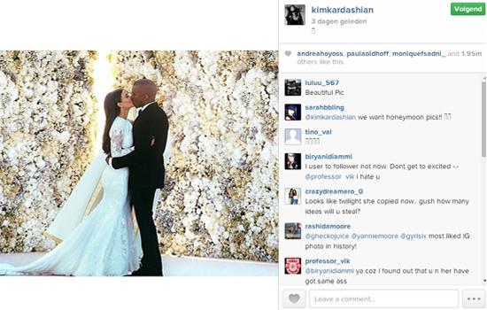 Kimye heeft met trouw foto een Instagram record behaald