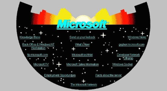 Eerste website van Microsoft