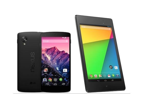 Nexus 5 en Nexus 7