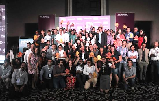 Het Nimbuzz-team bij de uitreiking van de SMARTIES 2014