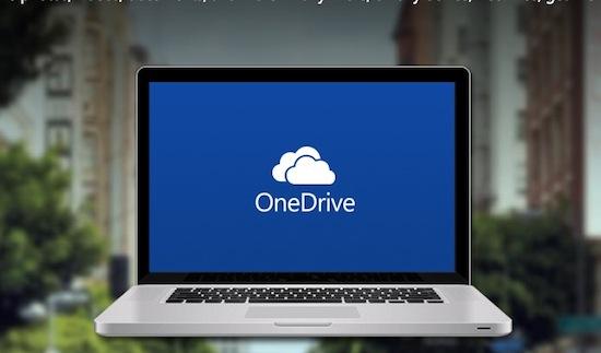 Microsoft OneDrive, gepromoot op een MacBook
