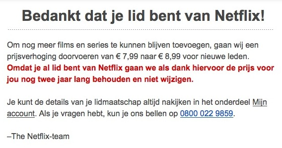 De prijs van Netflix gaat omhoog: van €7,99 naar €8,99