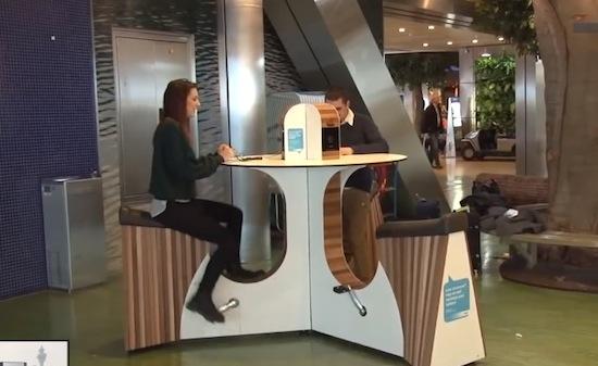 Op Schiphol kun je fietsend je telefoon opladen
